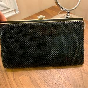 Vintage black chain mail clutch with strap